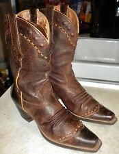 WOMENS 9 B Brown Oiled Rowdy ARIAT # 21286 Dixie Boot WESTERN BOOTS $175 !