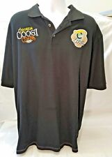 Mens Black Coogi Short Sleeve Polo Shirt with patches XXL 100% Cotton