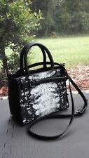NEW ORG $109 Reed Krakoff Black & White Print Lizard Embossed Crossbody Handbag