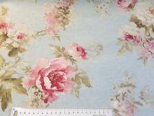 Dekostoff Blumen Landhaus 100 x140 Baumwollmischung hellblau
