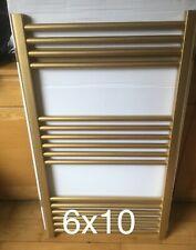 Gold 600mm x 1000mm Bathroom Designer Towel Radiator & Square Cubic Valves
