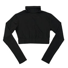Body Wrappers Black Long Sleeve Turtleneck Cheer Crop Top, Child Size 8-10
