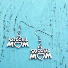 Soccer mom Silver earrings,women Fashion pendants jewelry handmade ear stud