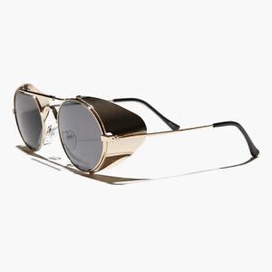 Gold Steampunk Sunglass with Folding Side Shields Gray Lens - Bram