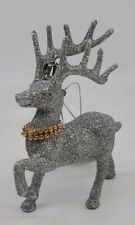 Silver Glitter Rhinestone Reindeer Deer Buck Christmas Ornament