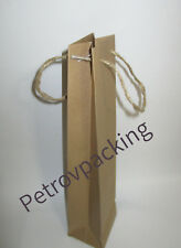 Natural brown wine bottle paper bags 100