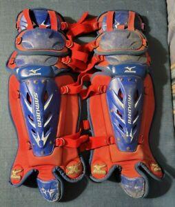 "Mizuno Samurai Youth 14.5"" Baseball Catcher's Leg Guards Pair Red Blue"