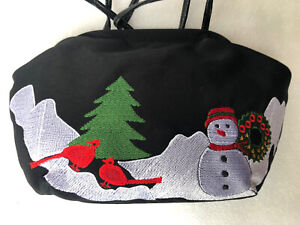 Christmas Holiday Purse Black With Snowman & Cardinal Birds Embroidery