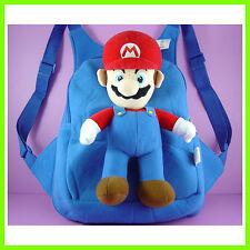 CUTE Super Mario Bros Blue Stuffed Soft Plush Toy Doll Backpack Bag + GIFT