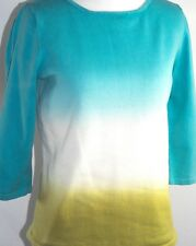 Jones NY Women's 3/4 Sleeve Knit Top Blue White Green Cotton Blend Size Medium