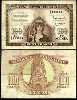 NEW CALEDONIA 100 FRANCS 1942 P 44 HEAVY CIRCULATED