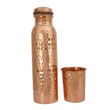 Hammered Eco Friendly Copper Bottle With Copper Glass For Kitchen Use