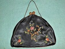 VINTAGE EMBROIDERED BLACK WITH FLOWER PATTERN CLUTCH PURSE - MADE IN FRANCE