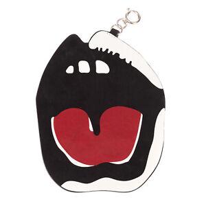 RRP €795 MAISON MARGIELA Leather Keyring Charm Large Mouth Print Spring Ring