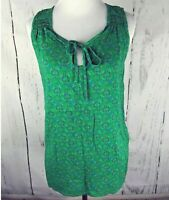 Womens  THE NORTH FACE Sleeveless Keyhole Top Small Green Floral Keyhole Blouse