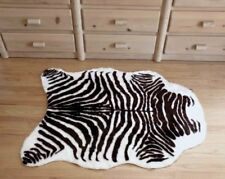 Plush Brown and White Faux Zebra Skin Rug From France 3 X 5