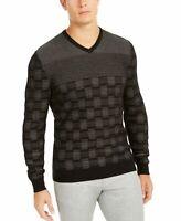 Alfani Mens Sweater Deep Black Size Large L Metallic Striped V-Neck $75 #177