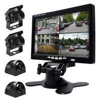 """7"""" Quad Split HD Monitor +4x Front Side Backup Rear View Camera For Bus Truck RV"""