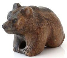 "Calcite Stone Bear Carved Figurine Handmade Sculpture Animal Statue 3.3"""