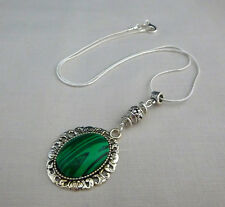 Green malachite and Tibetan silver necklace