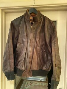 Vintage Rare Leather Harrington Jacket | CP Company Massimo Osti | Brown Medium