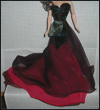 DRESS ONLY BARBIE DOLL FLOWER COLLECTION THE ROSE RED CHIFFON GREEN VELVET GOWN