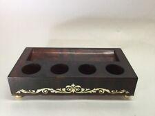 Avon Lipstick Holder Vanity Brown Gold Plastic Storage Footed Retro vintage A10