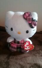 """6"""" Hello Kitty Plush With Pink and Black Plaid Dress and Hair Bow"""