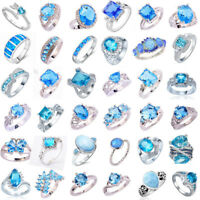 925 Sterling Silver Aquamarine Blue Topaz Gemstone Band Ring Women Men New Gift
