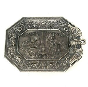 Art Nouveau Metal Souvenir de Paris Small Ring or Pin Tray Made in France