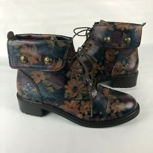 Patracia Nash Boots 9 39 Lia Floral Leather Lace up Peruvian Painting foldover
