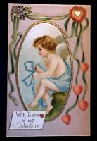 Cupid in Cameo with Hearts~Ribbons~Antique Embossed Valentine Postcard-b561
