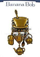 BANANA BOB Vtg COFFEE TEA Dangle SWAROVSKI CRYSTAL Rhinestone CHARM BROOCH Pin