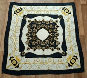Extra large vintage black gold white silk scarf made in Italy  Keys Chain print