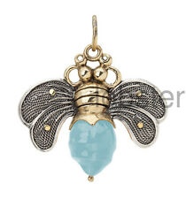 WAXING POETIC LARGE BEE BRAVE PENDANT or CHARM AQUA Sterling Silver Brass