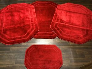 ROMANY WASHABLE GYPSY MATS 4PCS SETS NEW OCTAGON BOARDER RED SOFT CARPETS