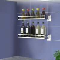 NEW Detachabl Wall Mount Spice Rack Single Tier Spice Jar Holder For Kitchen US