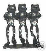 4 wholesale pewter triple frog figurines E5067