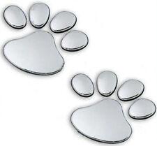 2x 3D Chrom Pfoten Aufkleber, SET Tatzen Sticker Hunde Katzen Paw Logo VW KIA