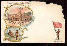 1900 Flag of Achantis Africa Paris Exposition France postcard