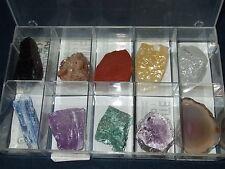 - Lotto Minerali Grezzi Cristalloterapia - 10 pz + contenitore
