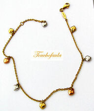 """14K Tri Color gold anklet beautiful link chain with 7 puffed dangling Hearts 10"""""""