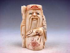 Japanese Detailed Hand Carved Netsuke Sculpture Old Man Cane Bag #02221863