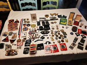 large Lot over150 pcs Military Medals,Pins,patches,coins/tokens,bag of buttons