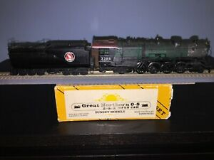 Sunset, Great Northern GN, 0-8, 2-8-2,open cab pre-owned, custom painted #3388,