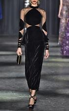 $5890 Authentic Rare NAEEM KHAN Women's Long Sleeve Midi-Length Velvet Dress
