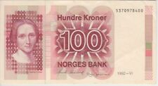 Norway Banknote P43d -8400 100 Kroner 1992,  Lighter Paper, VF+