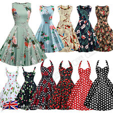 Ladies Womens 50s Vintage Lace Retro Rockabilly Party Evening Swing Skater Dress