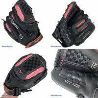 "Mizuno GPP 1108 | PINK/Black Leather 11"" Girls RHT Softball/Baseball Glove FINCH"