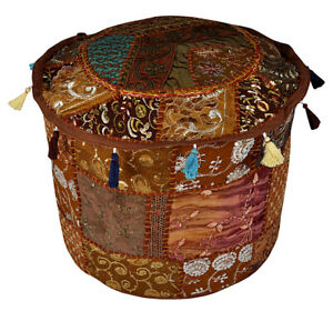 Indian Handmade Brown Pouf Cover Bohemian Ottoman Stool Floor Chair Pouffe Cover